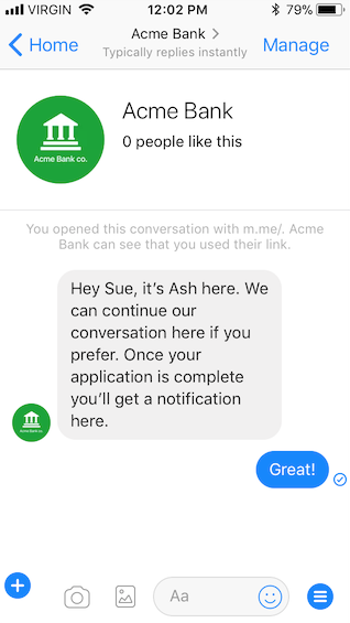 Sue is now talking to Ash over Facebook Messenger