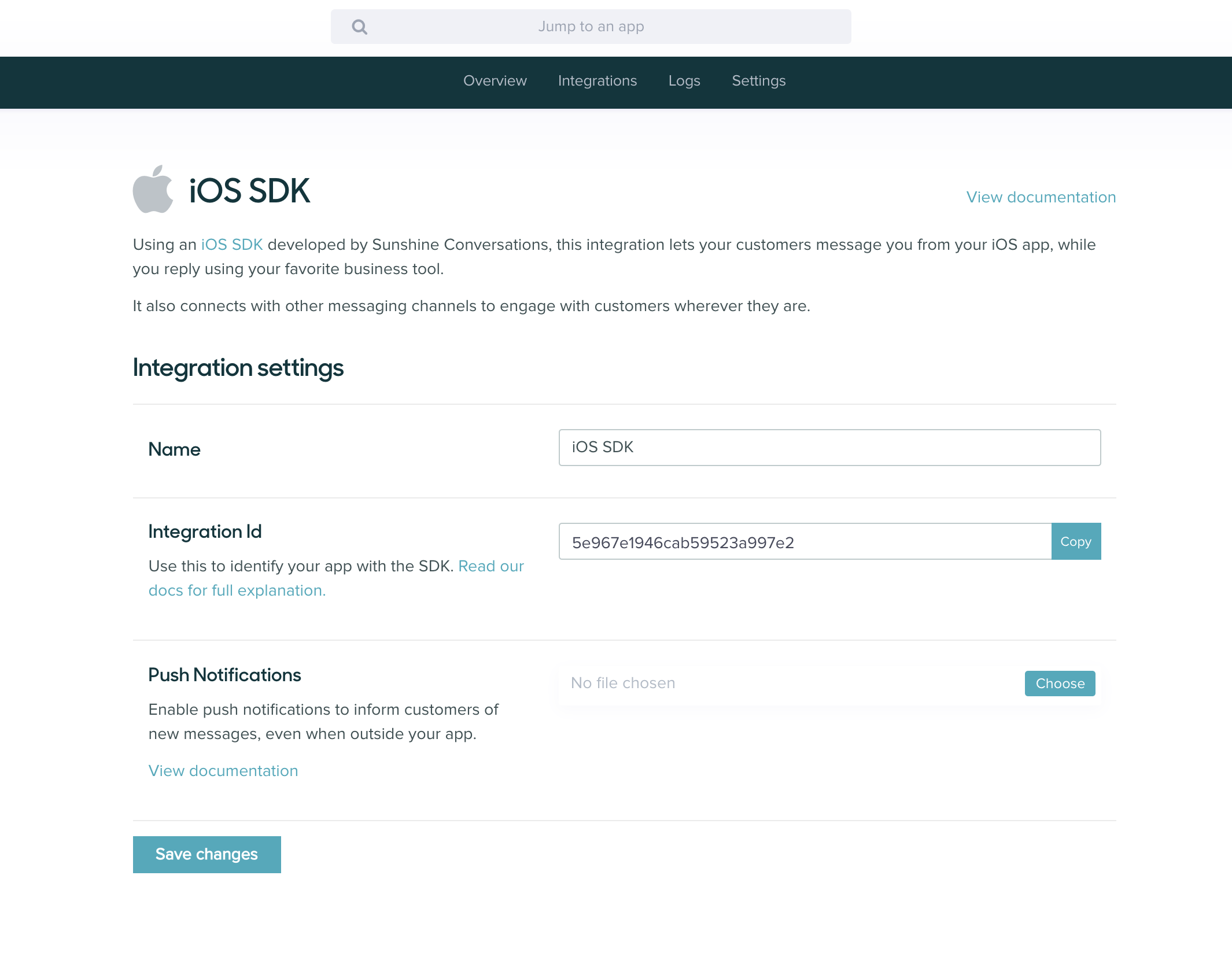 Integration ID on iOS Overview Page