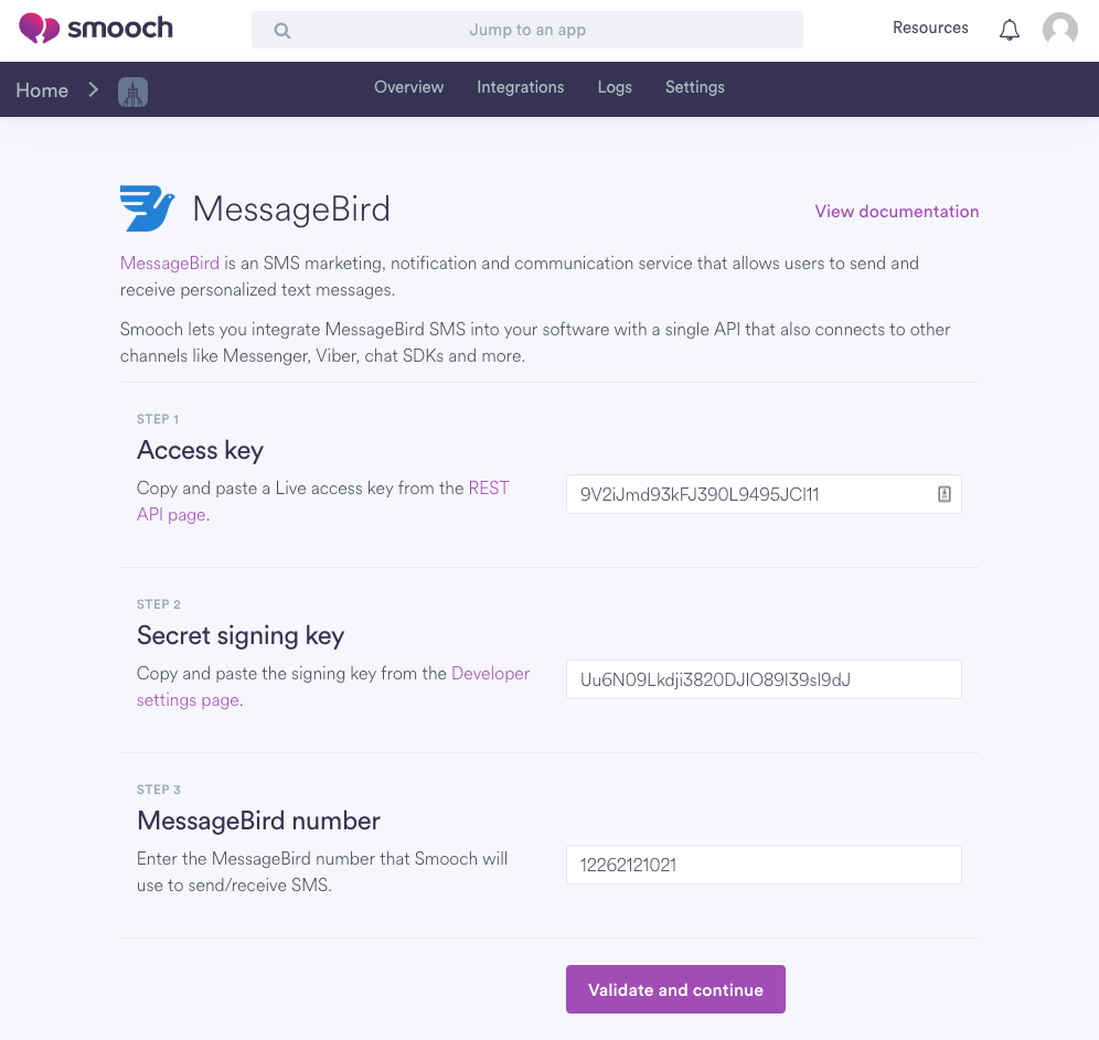 Smooch MessageBird Dashboard Integration