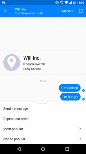 Facebook Messenger Persistent Menu